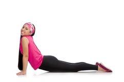 Woman doing exercises on white Stock Photo