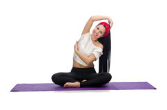 Woman doing exercises on white Stock Photography
