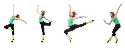 The woman doing exercises on white Stock Images