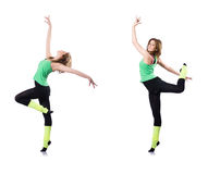 The woman doing exercises on white Royalty Free Stock Image