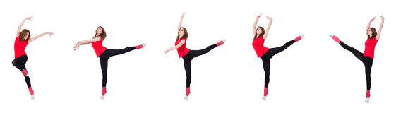The woman doing exercises on white Stock Photos