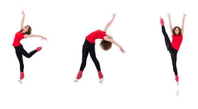 The woman doing exercises on white Royalty Free Stock Images