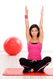 Woman doing fitness exercise. Beautiful woman during fitness exercise Stock Image