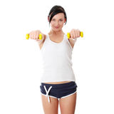 Woman doing fitness exercise Stock Photos