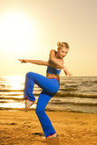 Woman doing fitness exercise Stock Images