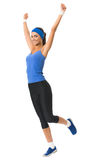 Woman doing fitness exercise, isolated Stock Image