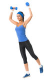 Woman doing fitness exercise, on white Stock Image