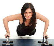 Woman doing fitness exercises Stock Photos