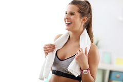 Woman doing fitness exercises at home Royalty Free Stock Photo
