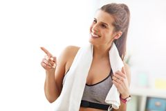 Woman doing fitness exercises at home Stock Photography
