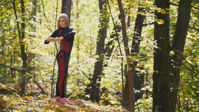 Woman doing fitness exercises outdoor. Female stretching in autumn forest. Slim girl at outdoor workout, slow-motion stock video footage