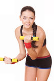 Woman doing fitness exercises with weights Stock Photography