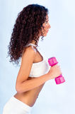 Woman doing fitness exercises. Young woman doing fitness exercises, side view Stock Images