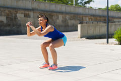 Woman doing fitness outdoor. Stock Images