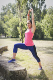 Woman doing fitness outdoor Stock Photography