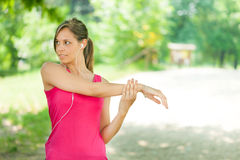 Woman doing fitness outdoors Royalty Free Stock Photo