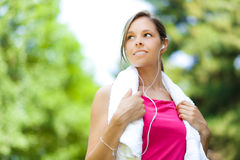 Woman doing fitness at the park Royalty Free Stock Photos
