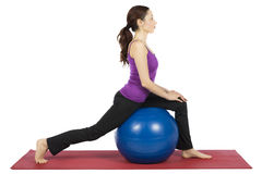 Woman doing fitness with a pilates ball Stock Image