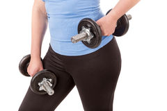 Woman doing fitness for weight loss. Stock Photos