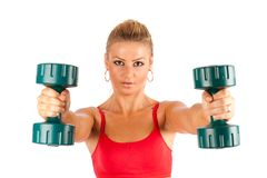 Woman doing fitness with weights Stock Photography