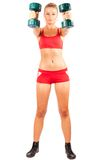 Woman doing fitness with weights Royalty Free Stock Image