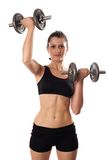 Woman doing fitness with weights Stock Image