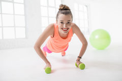 Woman doing fitness Stock Images