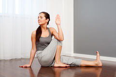 Woman doing flexibility yoga exercise Royalty Free Stock Image