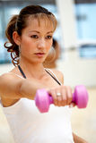 Woman doing freeweights Royalty Free Stock Photos