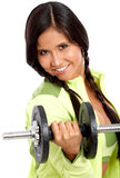 Woman doing freeweights Stock Photo