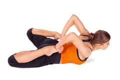 Woman Doing Frog Pose Yoga Exercise Stock Image