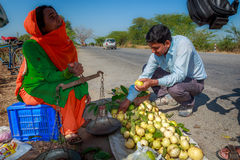 Woman doing guava business Royalty Free Stock Images