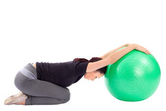 Woman Doing Gym Ball Exercise Stock Image