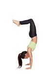 Woman doing handstand Stock Photo