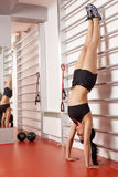 Woman doing a handstand Royalty Free Stock Photo