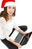 Woman doing her online christmas shopping Stock Images