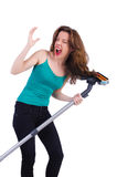 Woman doing housekeeping stuff Royalty Free Stock Image