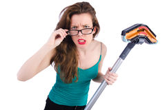 Woman doing housekeeping stuff Royalty Free Stock Photos