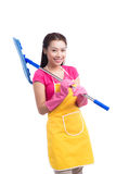 Woman doing housekeeping stuff at home isolated on white backgro Royalty Free Stock Photo