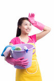 Woman doing housekeeping stuff at home isolated on white backgro Stock Images