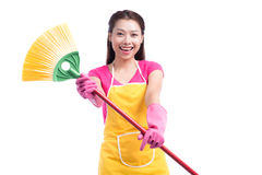 Woman doing housekeeping stuff at home isolated on white backgro Royalty Free Stock Photos