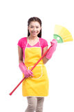 Woman doing housekeeping stuff at home isolated on white backgro Stock Photo