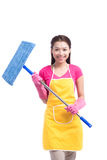 Woman doing housekeeping stuff at home isolated on white backgro Royalty Free Stock Images