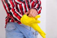 Woman doing housework stock images