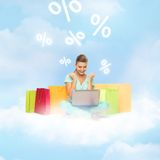 Woman doing internet shopping Royalty Free Stock Images