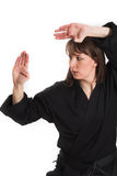 Woman doing karate Royalty Free Stock Images