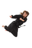 Woman doing karate Stock Photo