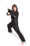 Woman doing karate Stock Photos