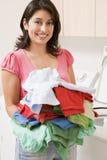 Woman Doing Laundry Stock Photo