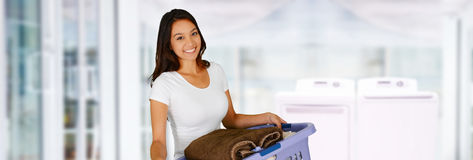 Woman Doing Laundry Royalty Free Stock Photography